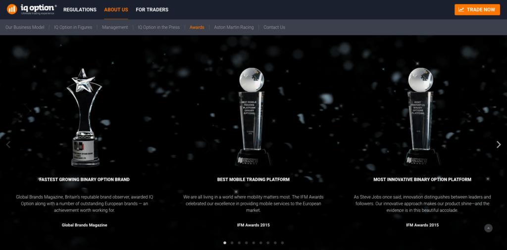 Broker IQ Option získal celou řadu ocenění, většinou za špičkovou obchodní platformu