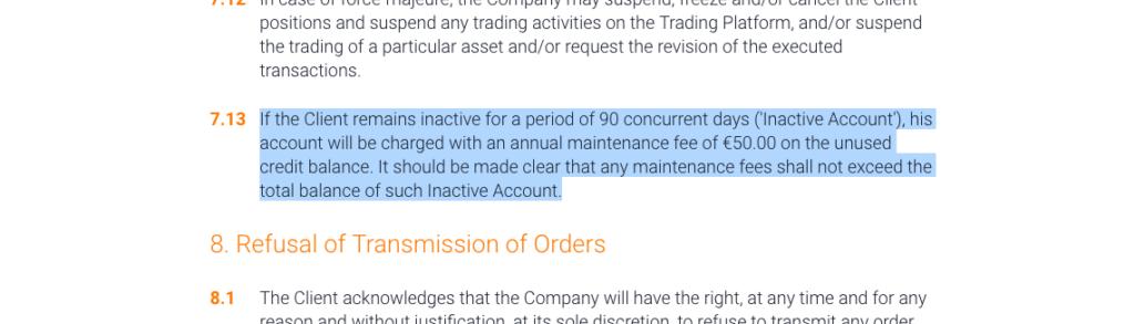 Informace o poplatku za neaktivitu v obchodních podmínkách