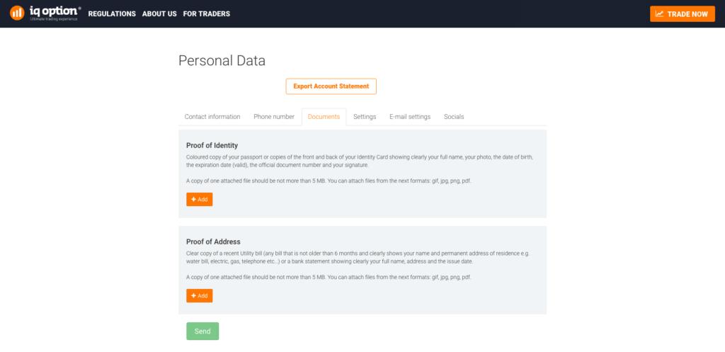 Pro verifikaci účtu je nutné předložit osobní dokumenty